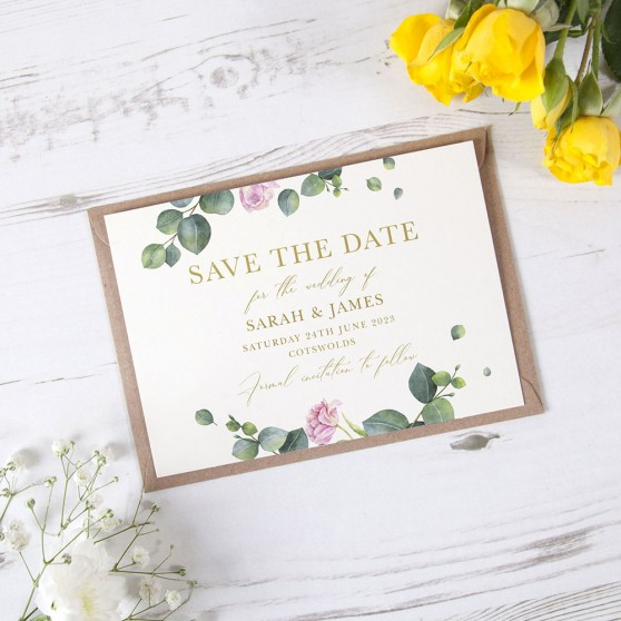 'Eucalyptus Blush' Foil Save the Date Sample