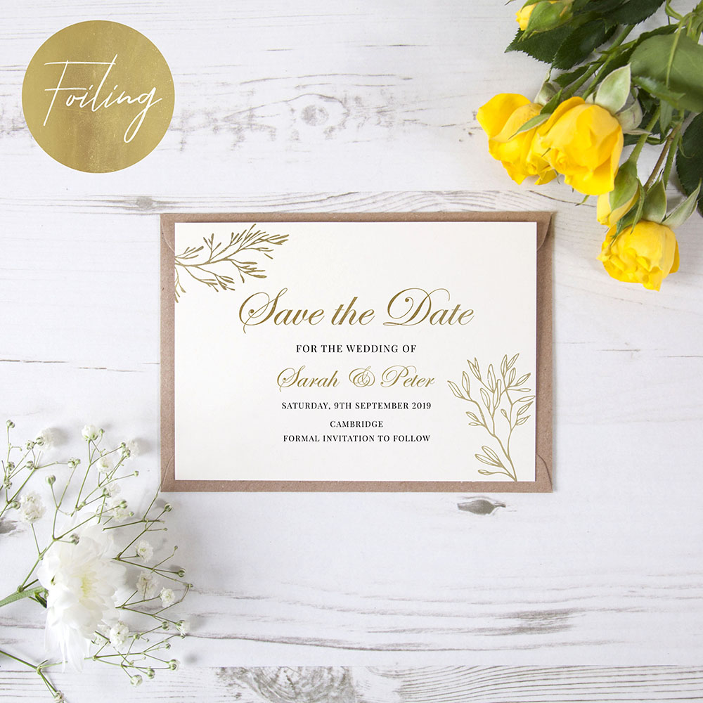 'Gold Leaf' Foil Save the Date Sample