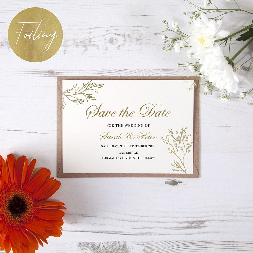 'Gold Leaf' Foil Save the Date