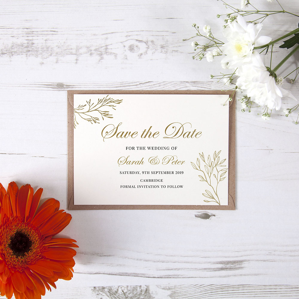 'Gold Leaf' Foil Save the Date