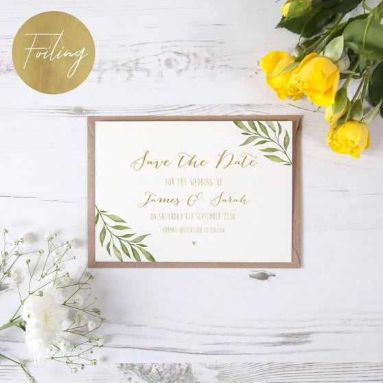 'Green Leaf' Foil Save the Date