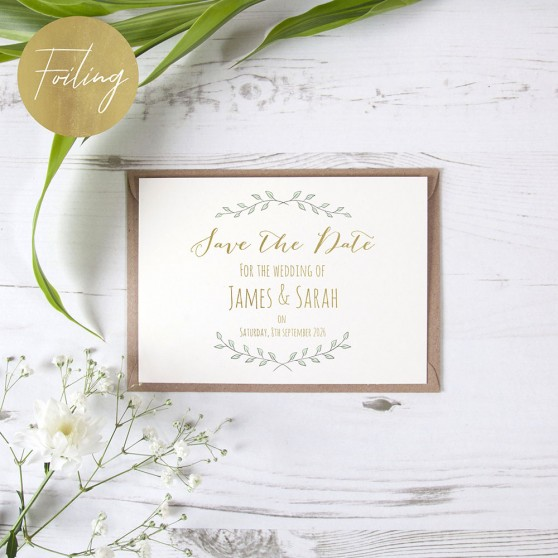 'Green Plant Design' Foil Save the Date