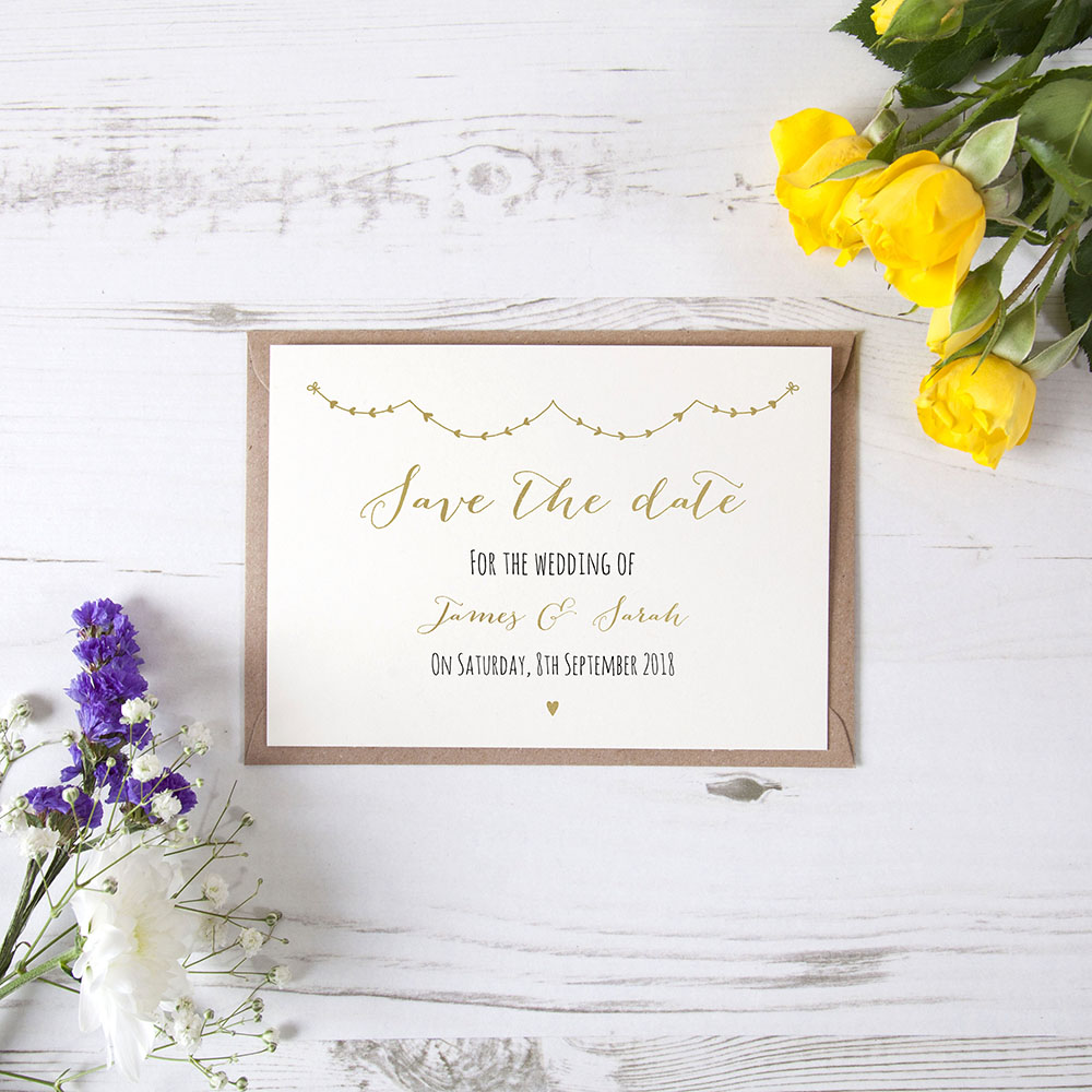 'Heart Bunting' Foil Save the Date