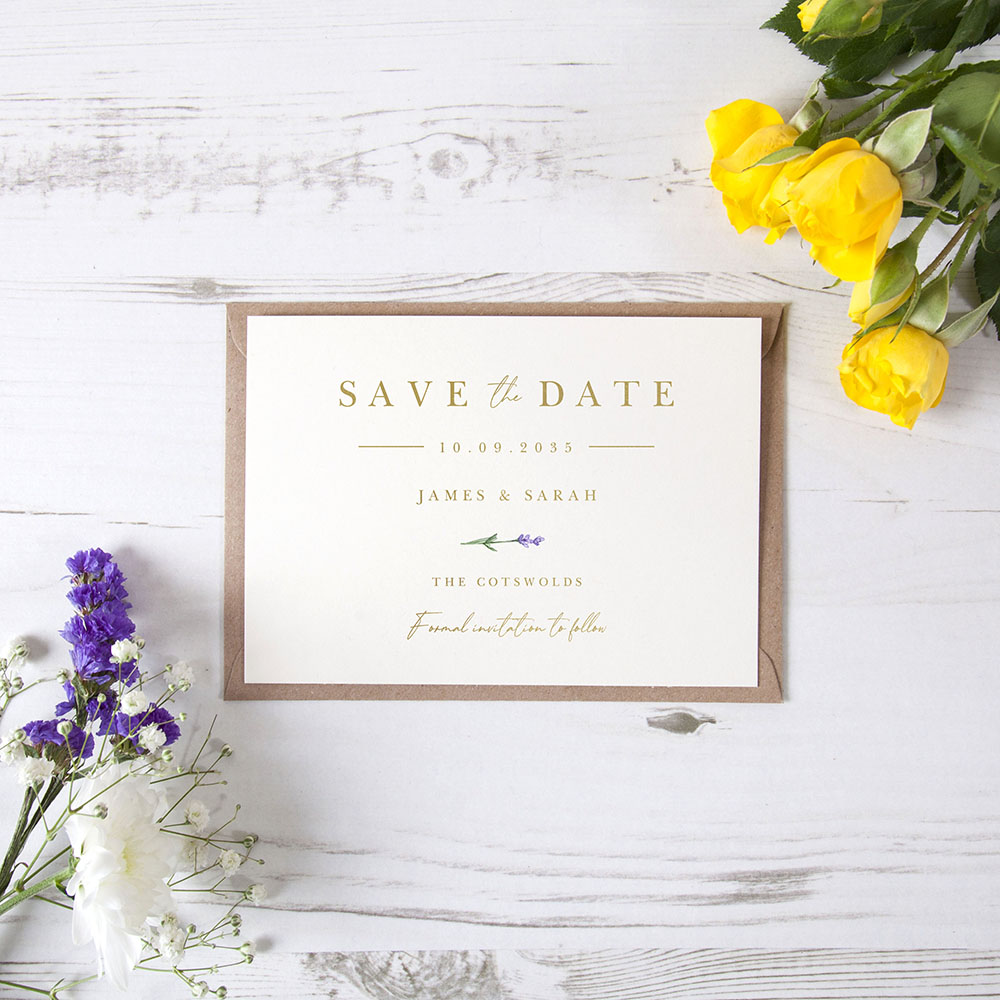 'Lavender L11' Foil Save the Date