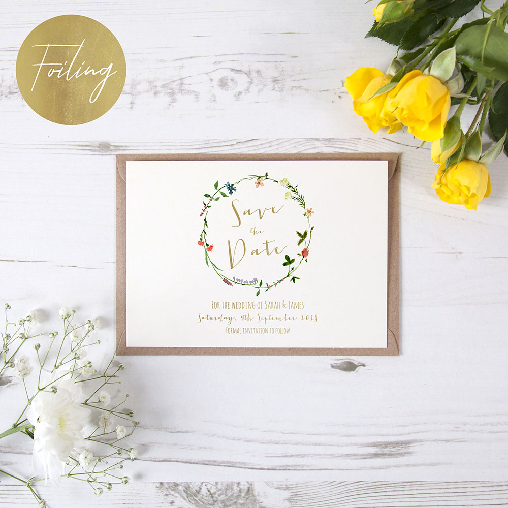 'Meadow Floral' Foil Save the Date Sample