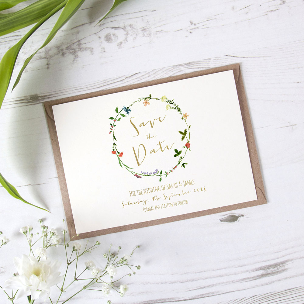 'Meadow Floral' Foil Save the Date
