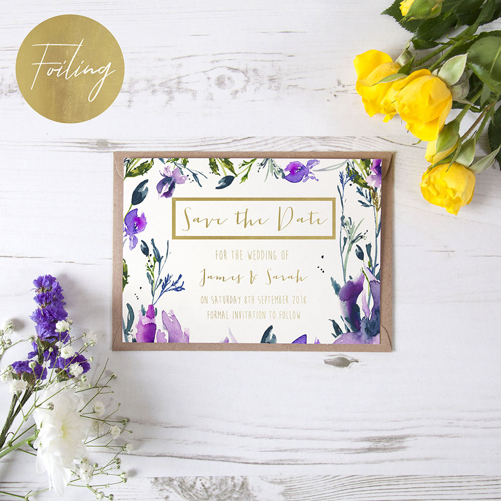 'Midnight Iris' Foil Save the Date