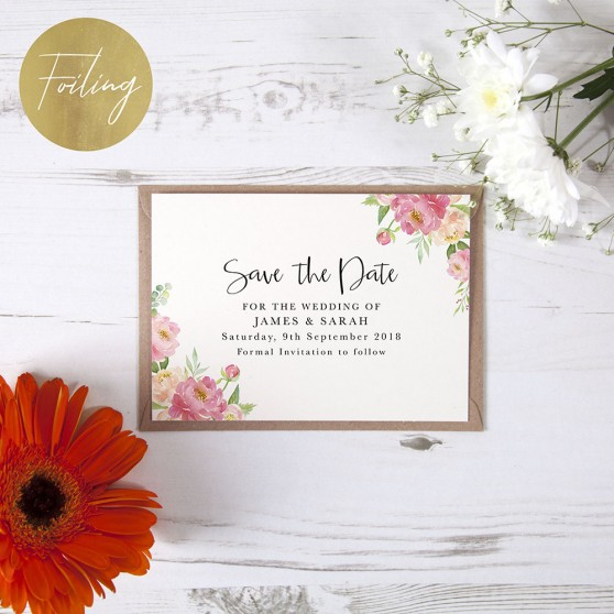 'Peony' Foil Save the Date