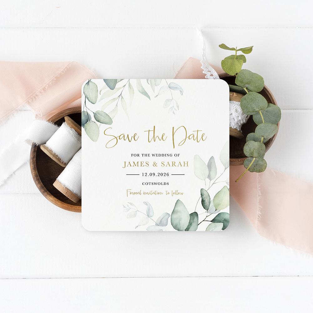 'Dreamy Eucalyptus' Square Foil Save the Date