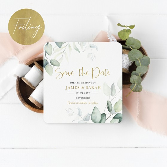 'Dreamy Eucalyptus' Square Foil Save the Date Sample