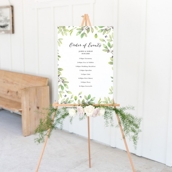'Arabella' Wedding Order of Events Sign A2/A1