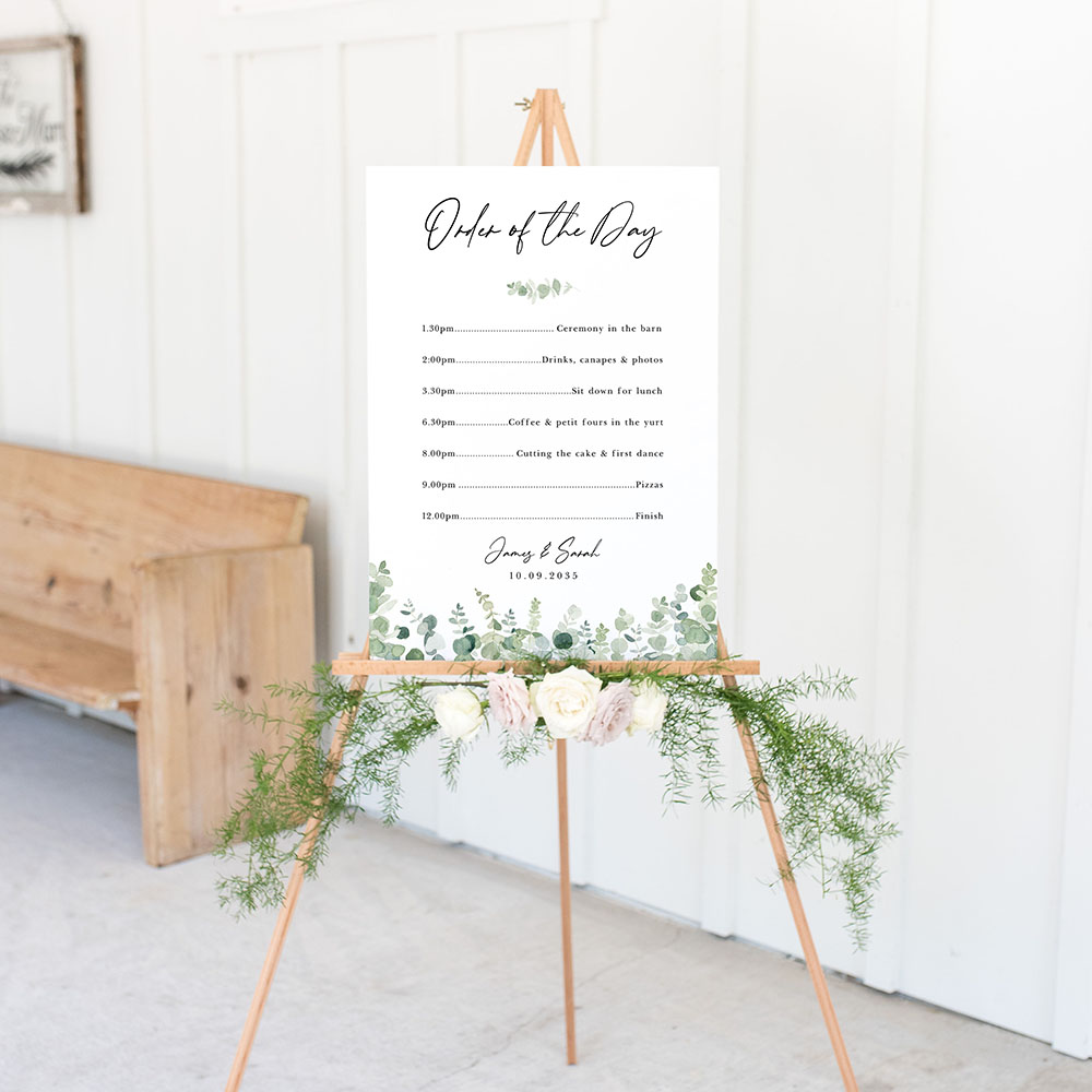 'Classic Eucalyptus' Wedding Order of Events Sign A2/A1