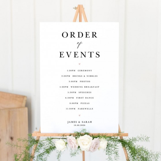 'Fiona' Wedding Order of Events Sign A2/A1