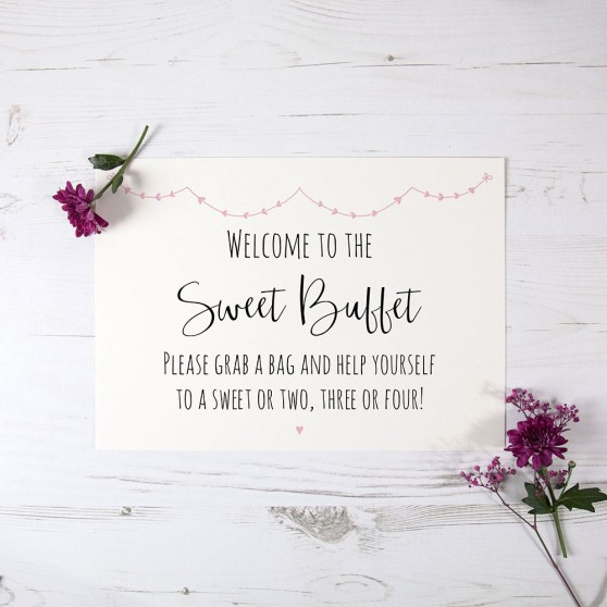 'Pink Heart Bunting' Sweet Buffet Sign