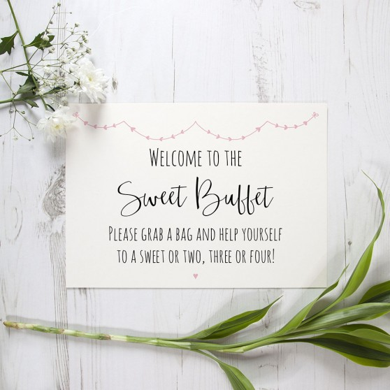 'Pink Heart Bunting' Sweet Buffet Sign A2/A1