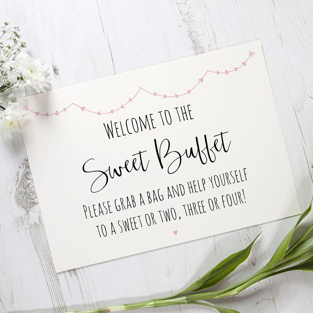 'Pink Heart Bunting' Sweet Buffet Sign A2/A1