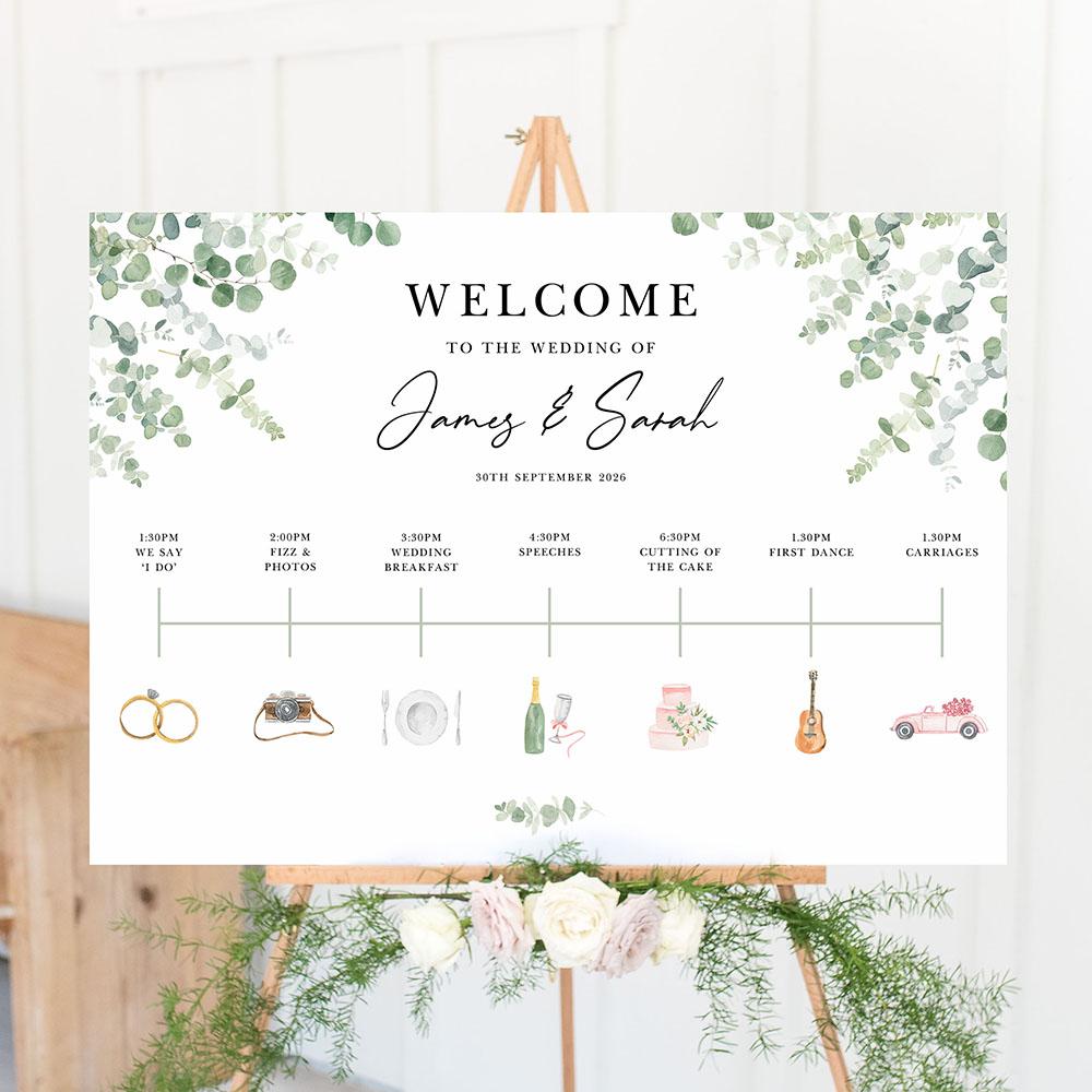 'Classic Eucalyptus CE14' Wedding Timeline A2/A1