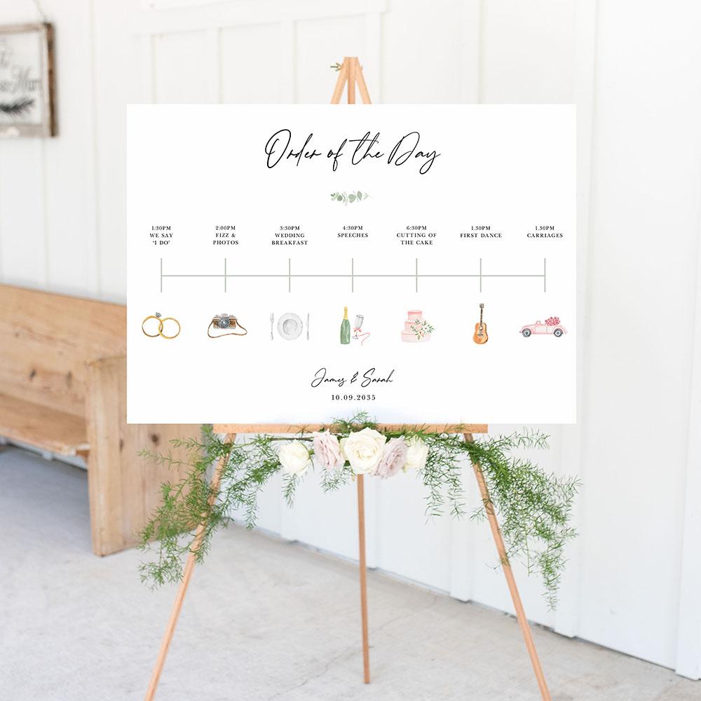 'Classic Eucalyptus CE11' Wedding Timeline A2/A1