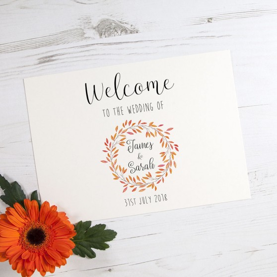 'Autumn Orange' Welcome Sign - A6/A5/A4/A3