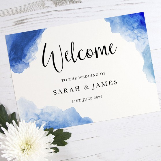 'Blue Watercolour Splash' Welcome Sign - A6/A5/A4/A3