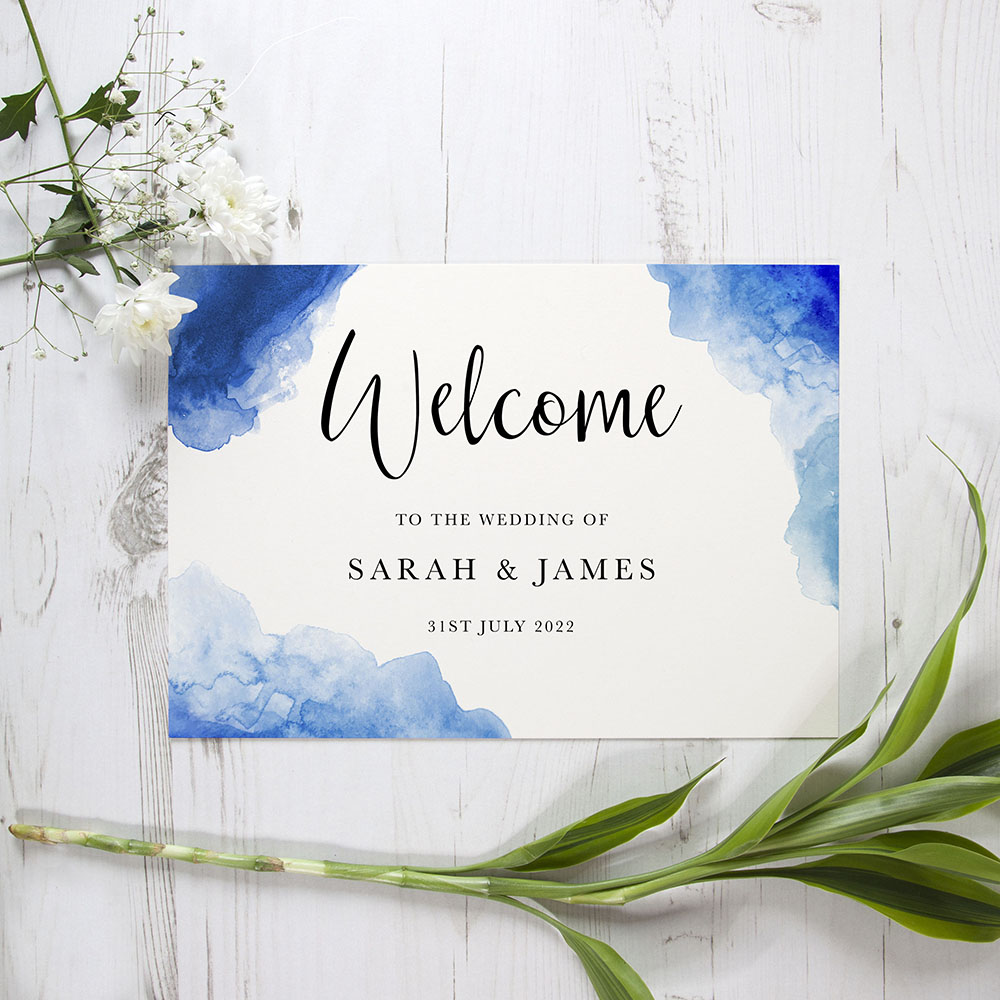 'Blue Watercolour Splash' Welcome Sign - A5/A4/A3