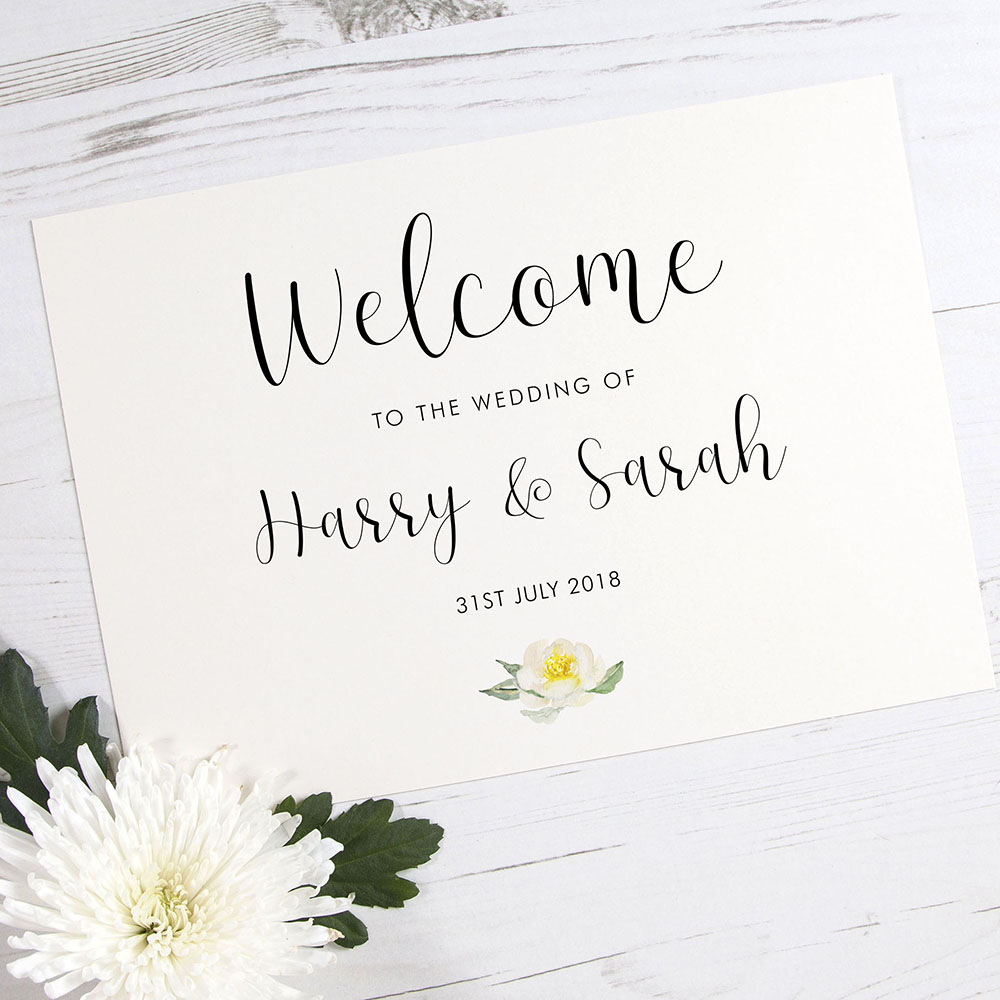 'Dahlia Rose' Welcome Sign - A5/A4/A3
