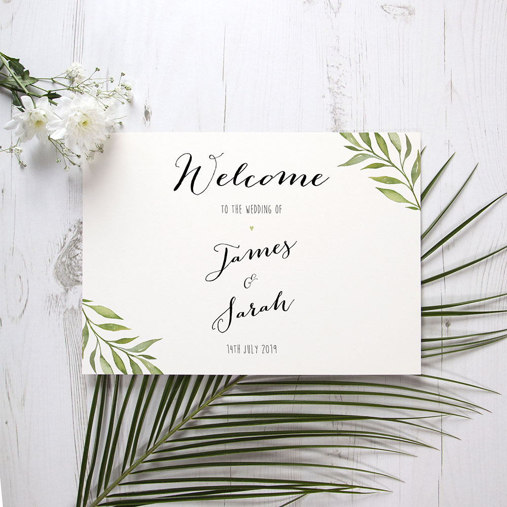 'Green Leaf' Welcome Sign - A5/A4/A3