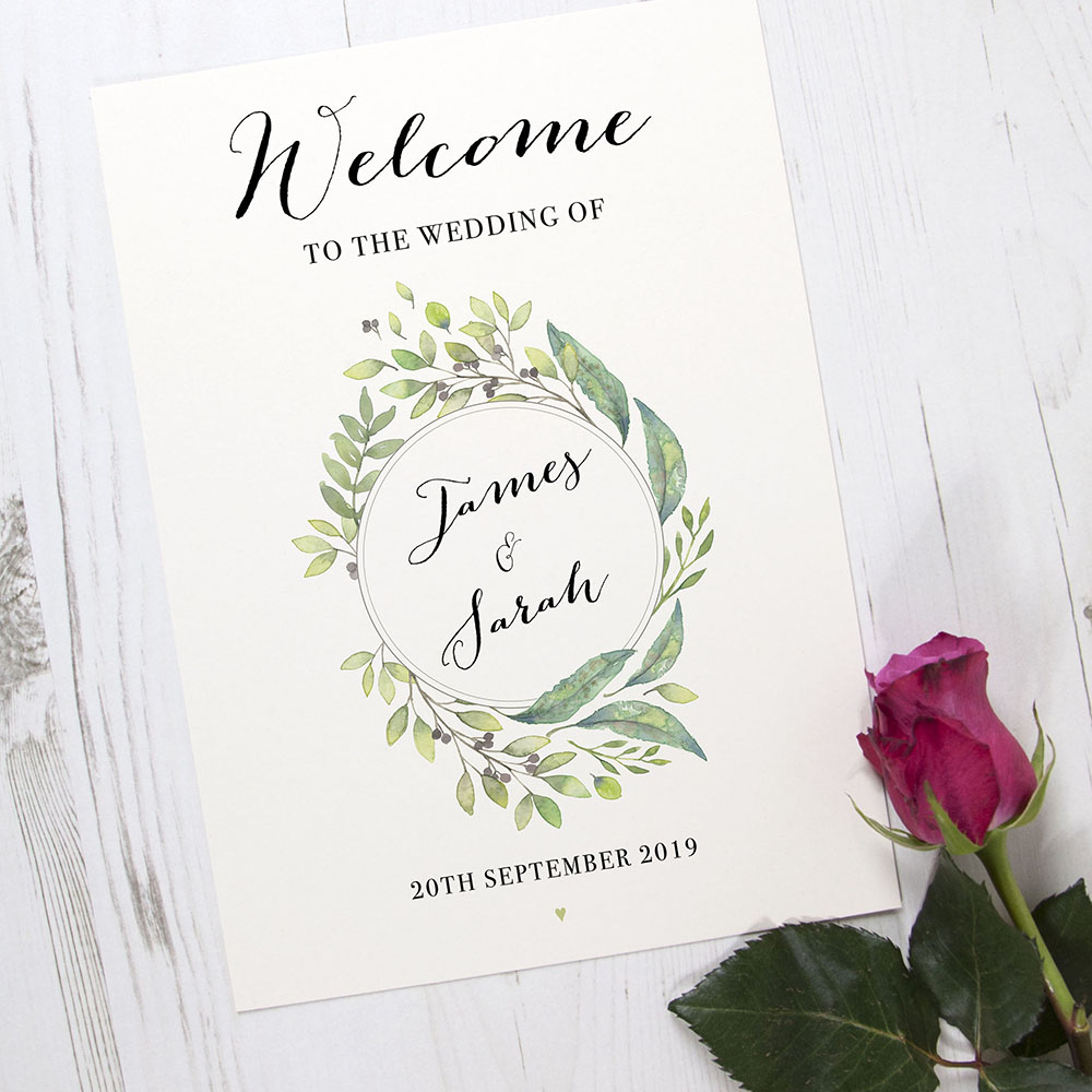 'Imogen Portrait' Welcome Sign - A6/A5/A4/A3