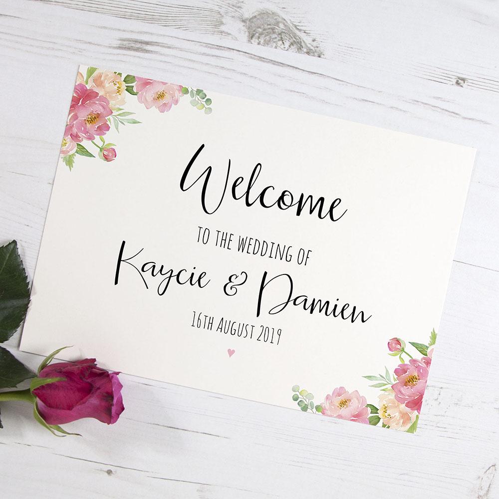 'Peony' Welcome Sign - A6/A5/A4/A3