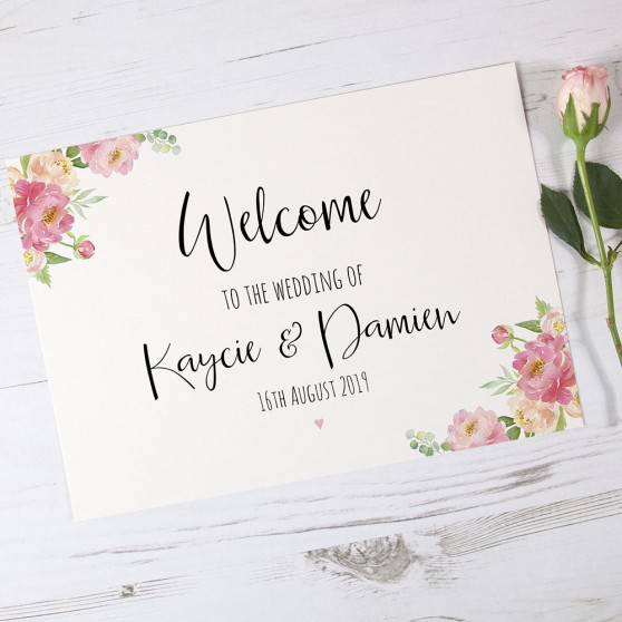'Peony' Welcome Sign - A6/A5/A4/A3