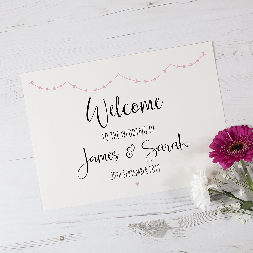 'Pink Heart Bunting' Welcome Sign - A6/A5/A4/A3