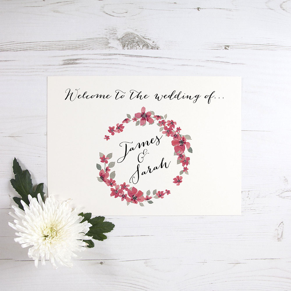 'Red Floral Watercolour' Welcome Sign - A6/A5/A4/A3