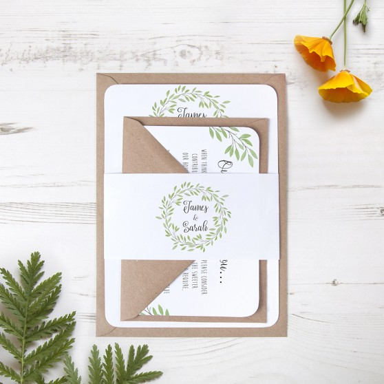 'Autumn Green' Sleeve Invite Sample