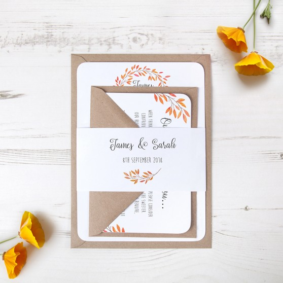 'Autumn Orange' Sleeve Invite Sample