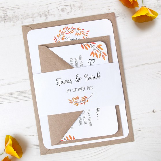 'Autumn Orange' Sleeve Invite