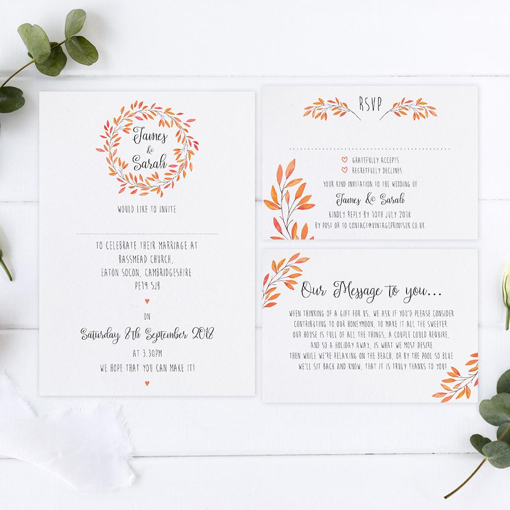 'Autumn Orange' Sleeve Invite