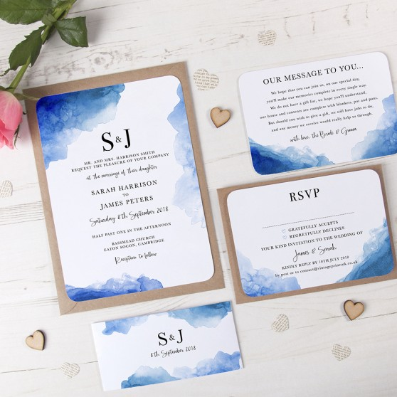 'Blue Watercolour Splash' Sleeve Invite