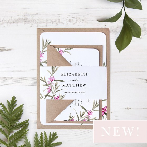 'Pink Botanical' Sleeve Invite