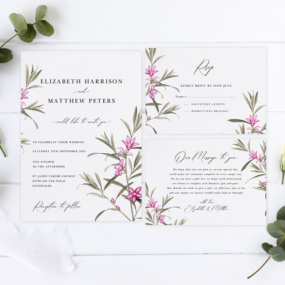 'Pink Botanical' Sleeve Invite Sample