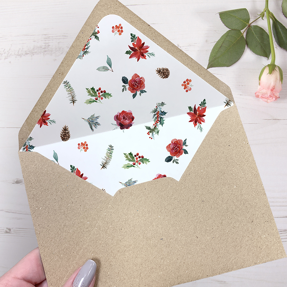 'Christmas Holly' Sleeve Invite