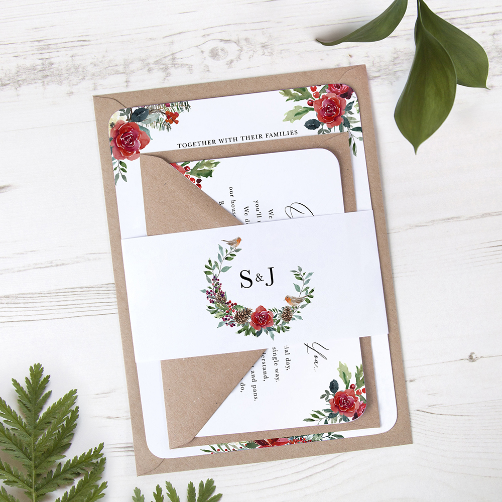 'Christmas Holly' Sleeve Invite Sample