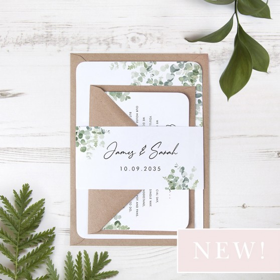 'Classic Eucalyptus' Sleeve Invite Sample