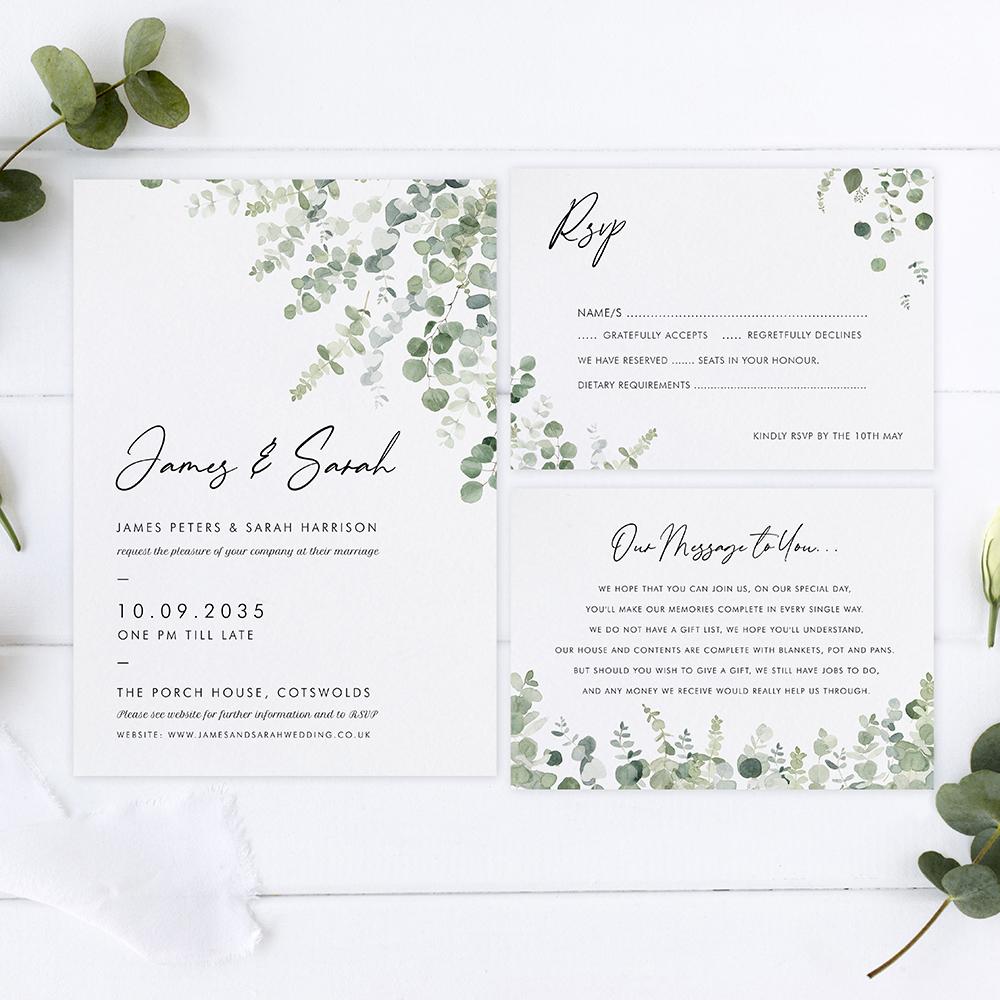 'Classic Eucalyptus' Sleeve Invite