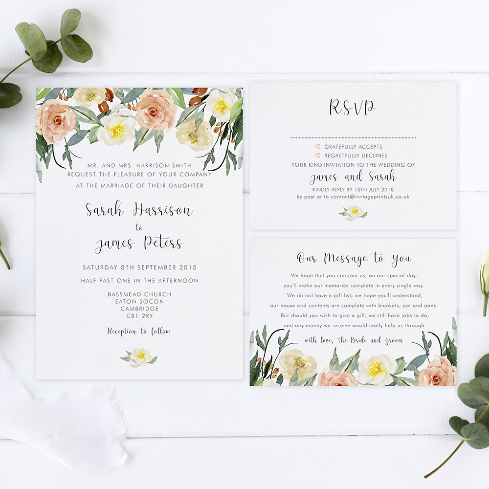'Dahlia Rose' Sleeve Invite