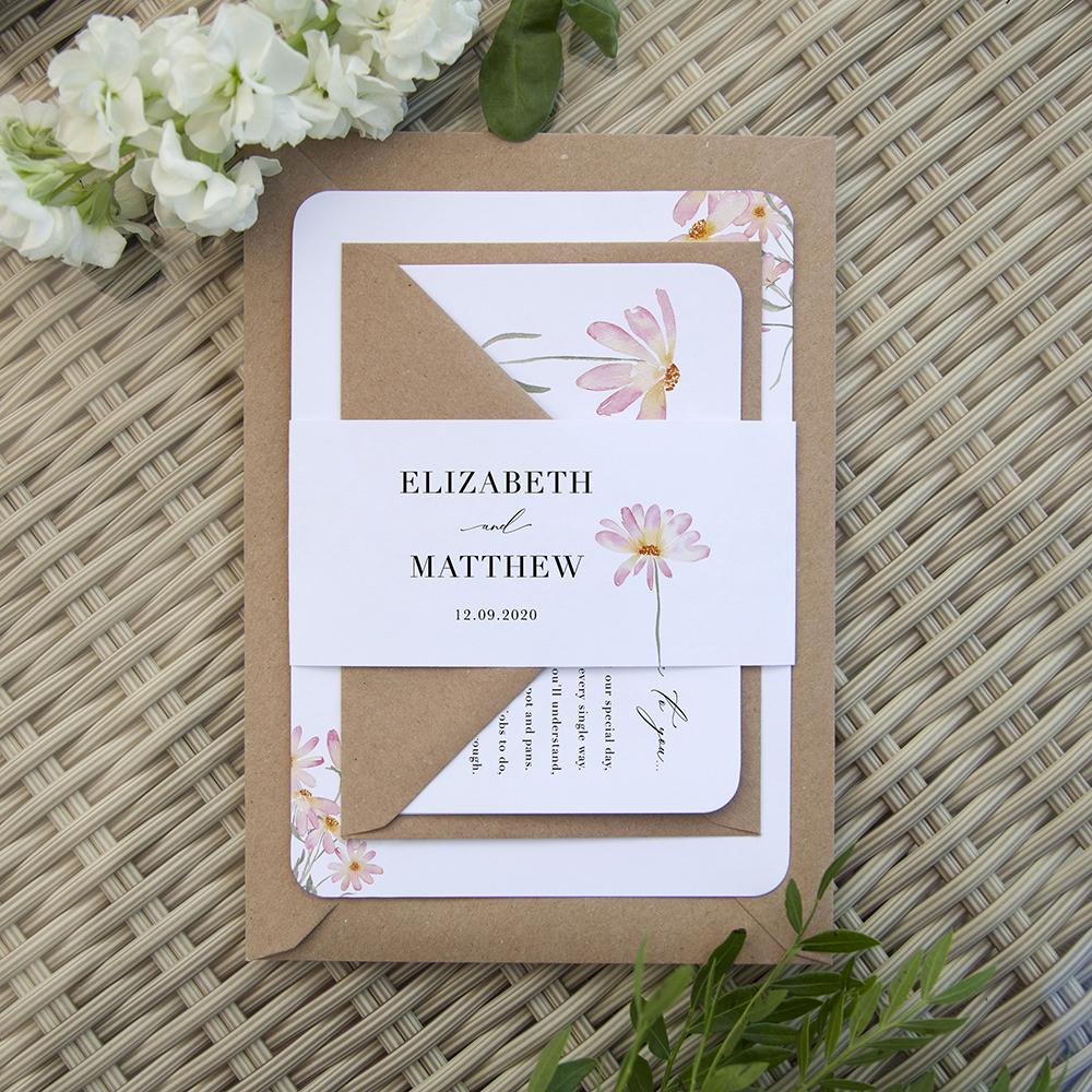 'Daisy Pink' Sleeve Invite