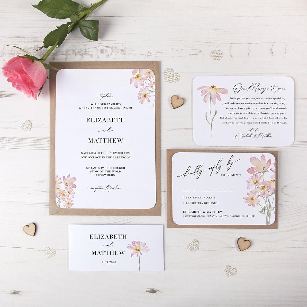 'Daisy Pink' Sleeve Invite Sample