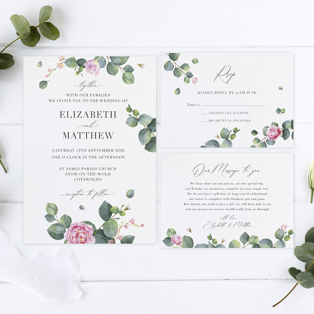 'Eucalyptus Blush' Sleeve Invite Sample