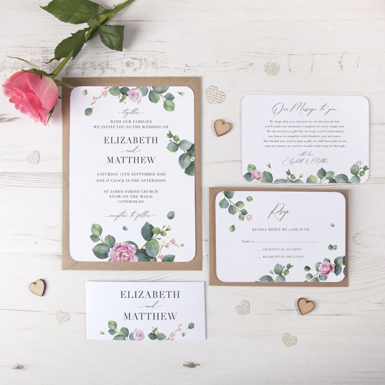 'Eucalyptus Blush' Sleeve Invite