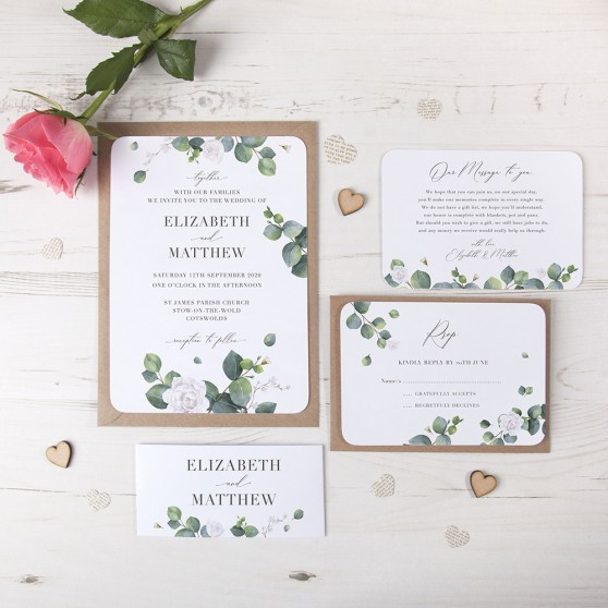 'Eucalyptus White' Sleeve Invite