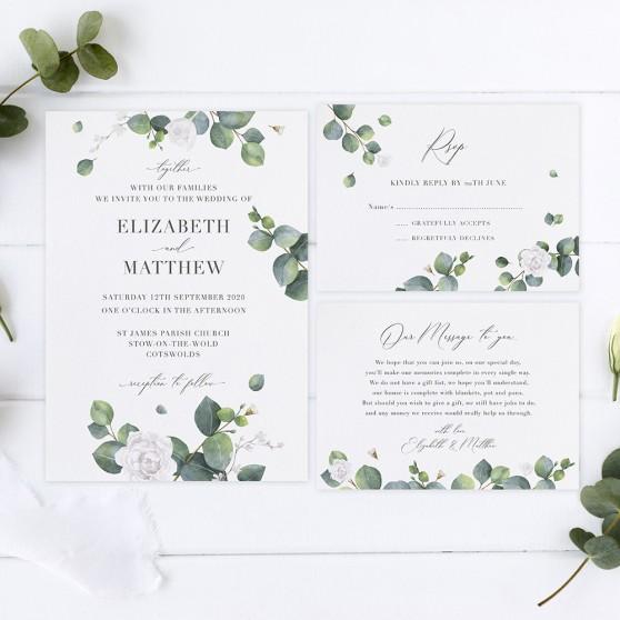 'Eucalyptus White' Sleeve Invite Sample